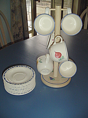 Pfaltzgraff Summer Garden 6 Coffee Cup Rack W/cups And Saucers