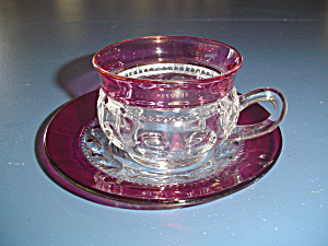 Tiffin/franciscan King's Crown Cranberry Sets Of Cups And Saucers
