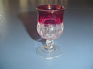 Tiffin/franciscan King's Crown Cranberry Claret/cognac Glasses