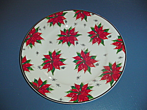 Home Poinsettia Dinner Plates Gold Rim