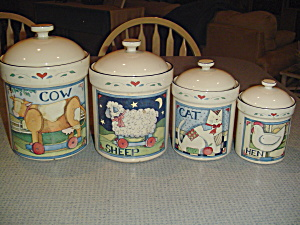 Susan Winget Farm Animal Collection Covered Canister Only Cat