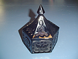 Vintage Tiara Hexagon Black Glass Covered Candy Dish  (Image1)