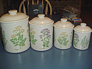 Cic Spice Pattern Set Of 4 Canisters With Cover Very Nice Set