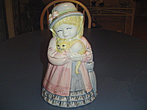 Old Fashioned Little Girl Holding a Cat Cookie Jar (Image1)