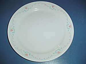Corelle Dinner Plates Peach/pink Tulips W/light Green Leaves/scroll