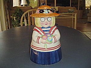 Sailor Girl W/glasses And Straw Hat Cookie Jar