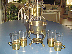Vintage Fb Rogers Carafe Set Brass Pot/warmer Stand/4 Glass/brass Cups