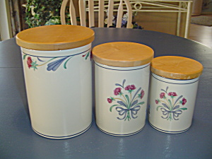 Lenox Poppies On Blue Set Of 3 Covered Canisters