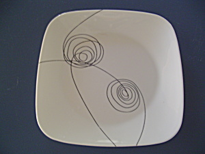 Corelle Square Lunch Plates White W/black Circles Newer Pattern