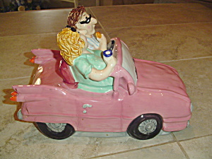 1956 Pink Cadillac Convertible Cookie Jar-mom And Pop