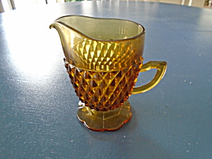 Indiana Glass Amber Diamond Point Creamer (Image1)