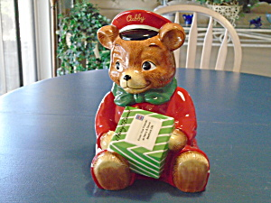 Harry & David CUBBY Teddy Bear Delivery Boy Cookie Jar (Image1)