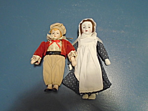 2 Porcelain Dolls Ornaments