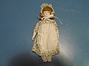 Small Porcelain Colonial Dress Doll 8 In. High
