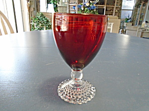 Anchor Hocking Bubble Foot Ruby Red Water Goblets