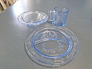 3 Piece Set of Tiara Indiana Glass in Blue w/Mother Goose (Image1)