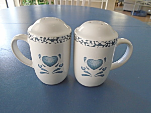 Corelle Blue Hearts Stove Top Salt And Pepper Shakers