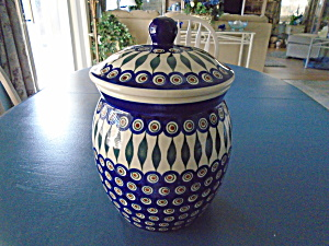 Boleslawiec Peacock Large Covered Canister/cookie Jar Mint