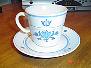 Noritake Progression Blue Haven Cups And Saucers