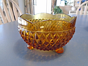 Indiana Glass Amber Diamond Point Bon Bon Footed Bowl (Image1)