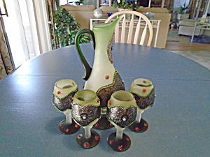Frosted Decanter W/4 Goblets The Most Unusual Set Ever