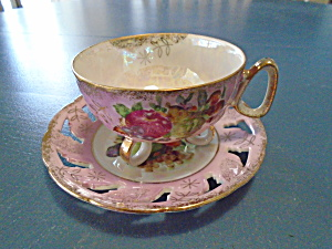 Royal Halsey Footed Cup And Pierced Saucer Pink Irridescent W/fruit