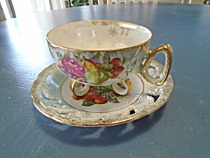Royal Halsey Footed Cup And Pierced Saucer Blue Irridescent W/fruit