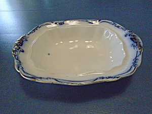 Antique Flow Blue Oval Serving Bowl Made In England