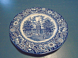 Staffordshire Liberty Blue Independence Hall Dinner Plates