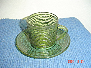 Fire King Soreno Green Cups And Saucers