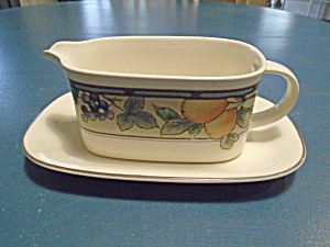 Mikasa Garden Harvest Gravy Boat And Under Plate