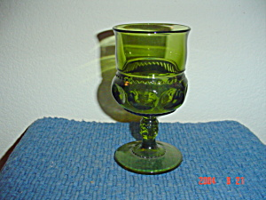 Indiana Glass Tiara Thumbprint  Green Wine Goblets (Image1)