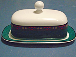 Dansk Emerald Braid Covered Butter Dish Portugal
