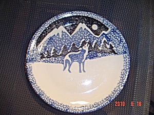 Tienshan Wolf Salad Plates Blue Accents