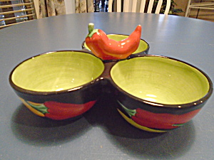 Clay Art 3 Compartment Peppers Condiment Dish