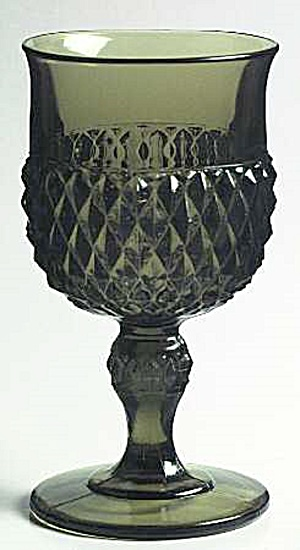 Indiana Glass Green Diamond Point Water Goblets (Image1)