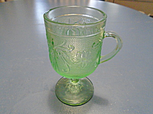 Indiana Glass Tiara Lt. Green Sandwich Glass Pedestal Mugs (Image1)