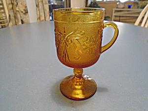 Indiana Glass Tiara Sandwich Amber Pedestal Mugs (Image1)