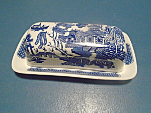 Churchill Blue Willow Covered Butter Dish