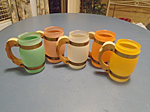 Siesta Ware Set Of 5 Vintage Frosted Mugs