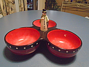 Cic 3 Part Condiment Dish With Snowman Handle For Christmas