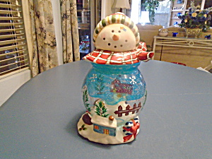 Snowman Christmas Glass/Ceramic Cookie/Candy Jar SUPER CUTE (Image1)