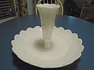 Westmoreland Paneled Grape Milk Glass Epergne 2 Pc.