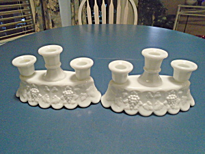 Westmoreland Paneled Grape Milk Glass 3 Candles Holders Set Of 2