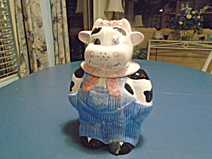 Cow Dressed In Overalls Ceramic Cookie Jar
