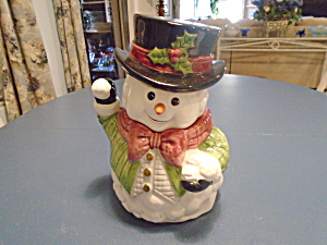 Fitz And Floyd Snowman Or Jack Frost Ceramic Cookie Jar