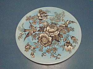 Victorian English Pottery VCN2 Dinner Plates Blue, Flowers, Birds (Image1)