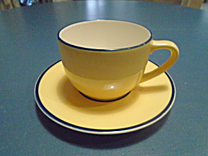 Pagnossin Yellow Spa Breakfast Cup And Saucer Blue Verge