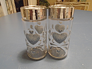 Corelle Blue Hearts Clear Glass S/p Tall Shakers
