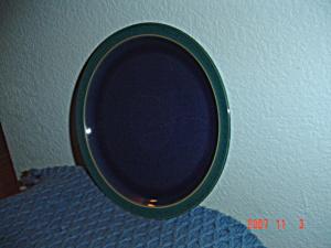 Denby Harlequin Salad Plates Blue Center Green Rim (Image1)